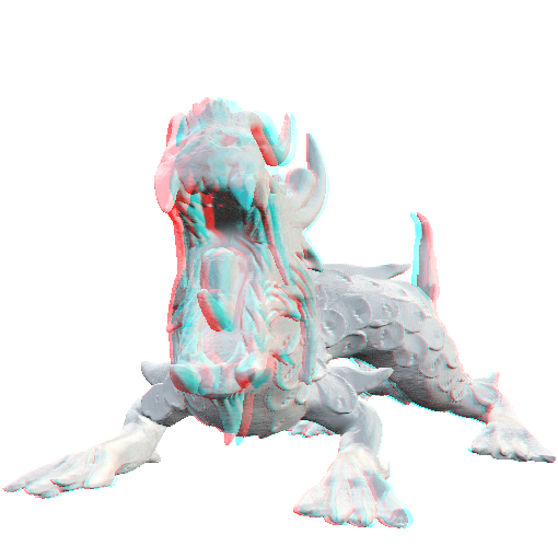 A red blue 3D anaglyph rendered using the fixed cost stereoscopic algorithm